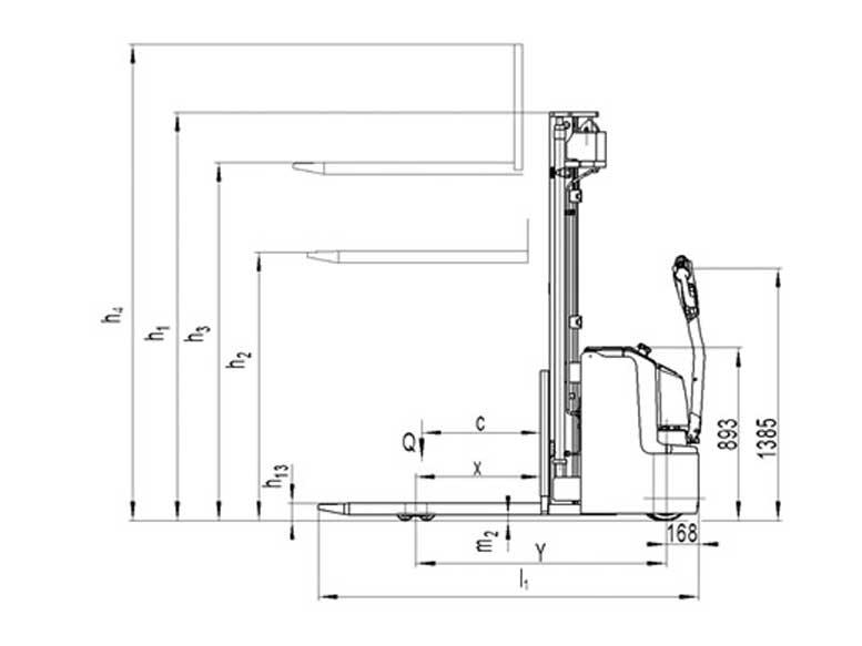 PS מלגזון מלגזה - מלגזון חשמלי אדם הולך דגם PS-16