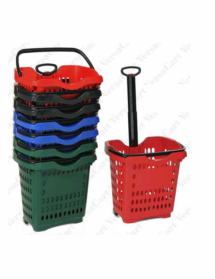 סלסלת פלסטיק כולל גלגלים,