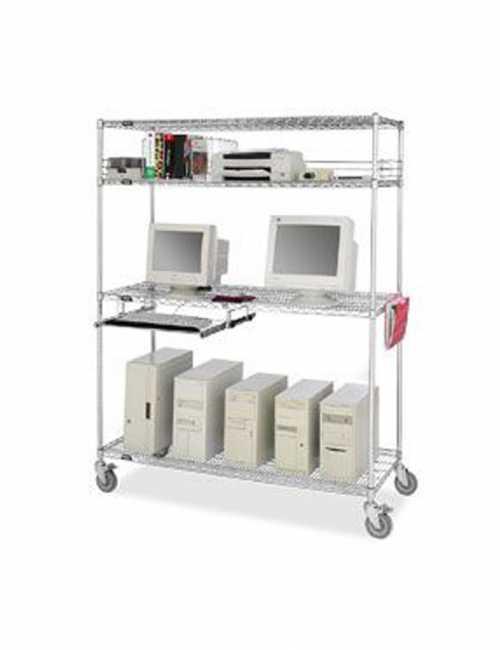 עגלות רשת ציפוי כרום ניקל עמדת מחשב T