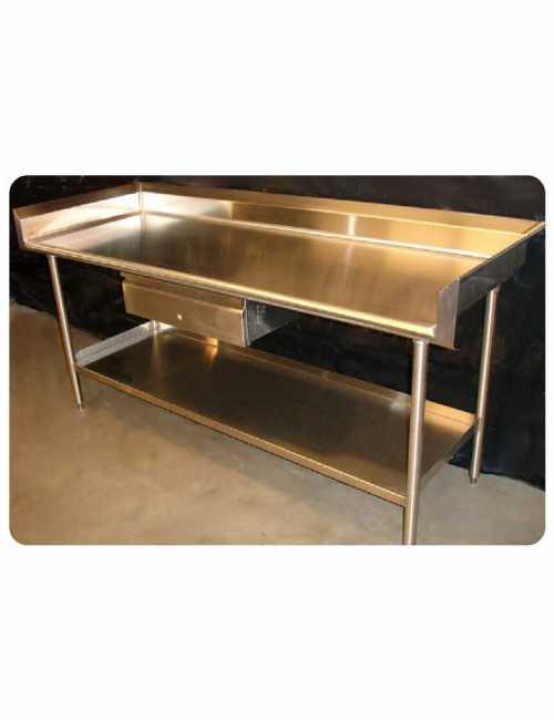 שולחן נירוסטה כולל מגירה כולל מדף תחתון AC