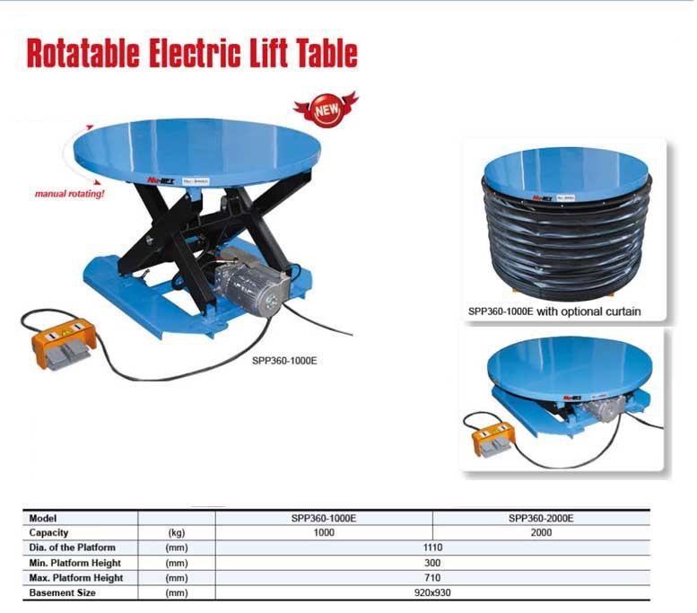 SPP360 1000E שולחן הרמה חשמלי פלטה עגולה מסתובבת דגם - שולחן הרמה חשמלי פלטה עגולה מסתובבת דגם -SPP360-1000E