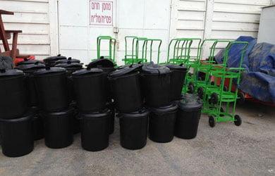 הספקת עגלות חצרן כולל פחים מחסן עיריה ,